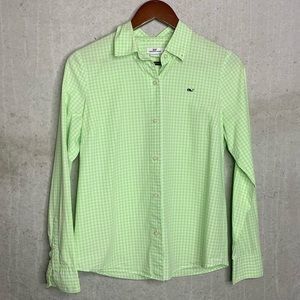 Vineyard Vines green gingham button down sz 6